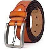 """JingHao Mens Belts Big and Tall Genuine Leather Casual Belt for Jeans Dress All Sizes 28""""-64"""" Black Brown"""
