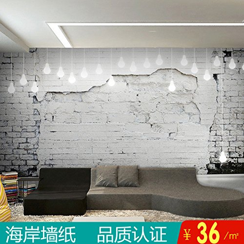keit Zement Brick wood-grain Bar Lounge Tapete Urban Style Industrie Air Persönlichkeit Cafe Internet-Cafés Dekoration Tapete, Only the Wallpaper, [Stitching- Taiwan special embossed paper per m2. (Urban Dekorationen)