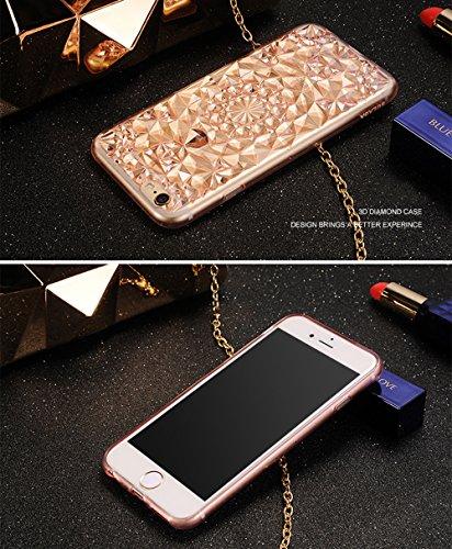 iPhone 6S Plus(5.5 pollice) Cover, Bonice iPhone 6 Plus Custodia, Lusso 3D Diamante Crystal TPU Ultra Clear Slim Bling Strass Case – Bianca rosa