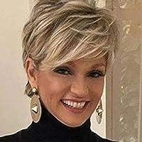 Creamily Kurze Blonde Perücke Pixie Perücke für Weiße Frauen Synthetisches kurzhaarperücke damen (Blond gemischtes Braun…