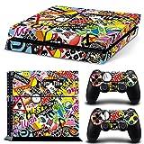 46 North Design Ps4 Playstation 4 Pegatinas De La Consola Graffiti + 2 Pegatinas Del Controlador