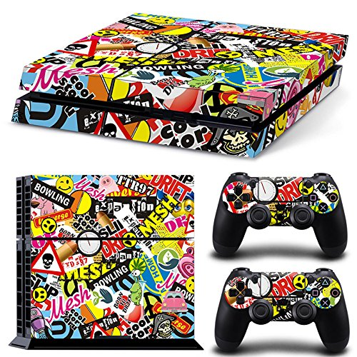 46 North Design PS4 Vinyl Decal Autocollant Skin Sticker Graffiti Collage Pour Playstation 4 console + 2 Dualshock Manette Set Autocollant