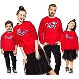 Magliette per Famiglia King Queen Prince Princess Stampa Felpa Regalo di San Valentino per Coppia Mamma papà Bambino Bambini