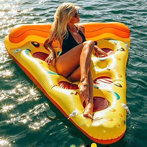 Kenmont Riesiges aufblasbares Flamingo/Ananas/Einhorn Luftmatratze Pool Floß Schwimmtier Planschbecken Sommerspielzeug (Pizza)