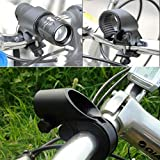 #7: HOME CUBE® Universal Zoomable Mode Bike Flashlight LED Torch Mount Clip 360 Degree Rotation Cycling Clip Clamp Bicycle Light Holder - Black Color
