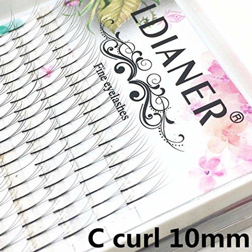 Faux-cils, Sansee Faux Cils Individuels 6D Wave Vison 0.07 C Extension De Cils En Soie Noire (#C 10mm)