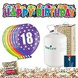 Freelium 18. Geburtstag Deko: Bunte Luftballons Zahl 18 go 250 Helium + XXL Happy Birthday Banner