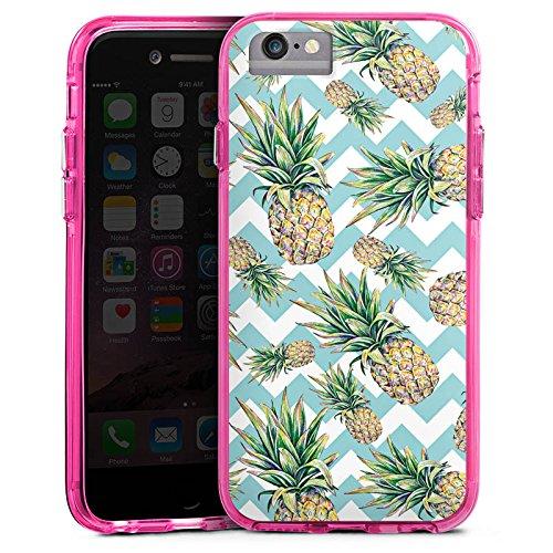 Apple iPhone 8 Bumper Hülle Bumper Case Glitzer Hülle Ananas Pineapple Muster Bumper Case transparent pink