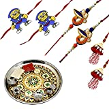 Frabjous Rakhi Designer Combo For Brother, Sister (6 pcs) With Puja Thali Including Roli Rice