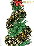 Ready To Ship! Foil-Tinsel-Garland-Black & Gold-6.5Ft-Long For Christmas Tree ornament, New Year Children Party Decoration--TG003