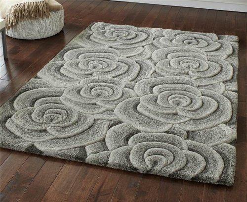 Grau Wollteppich mit Blumen-Design, dick und dicht, 90 x 150 cm
