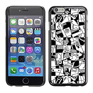 Omega Covers - Snap on Hard Back Case Cover Shell FOR Iphone 6/6S (4.7 INCH) - Art Lines Hand Drawn White Black
