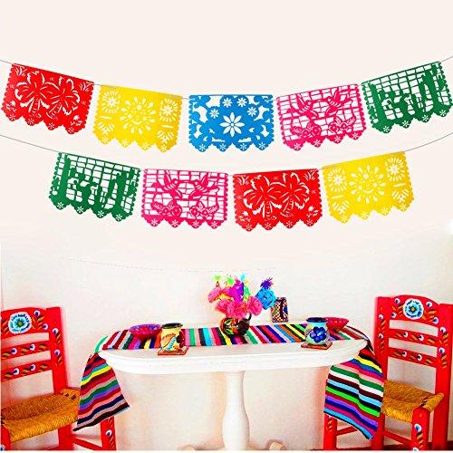 AerWo 9pcs Filz mexikanische Banner Multicolor mexikanische Flagge Banner mit ausgehöhlten Blumen, Bäume, Vögel und Smiley für mexikanische Party Dekorationen, mexikanische Hochzeit und Halloween Dekoration
