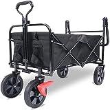 Chariot de jardin pliable All Terrain - Avec portes à pieds, roues en fer - Espace de rangement de 90 l - Pivote à 360° - Rou
