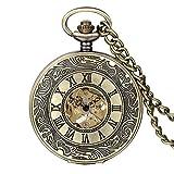 Avaner Taschenuhr Kette Uhr, Retro Bronze Skelett Muster römische Ziffern Taschenuhr mit 14 Zoll Kette Pocket Watch Anhänger Halskette für Damen Herren Jungen Mädchen