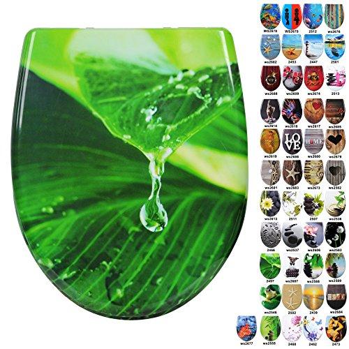 WOLTU #1 WC Sitz mit Absenkautomatik, Duroplast, Fast Fix/Schnellbefestigung, Softclose Scharnier, Antibakteriell, 44 Toilettendeckel zur Auswahl (2497 Tropfen Grün)