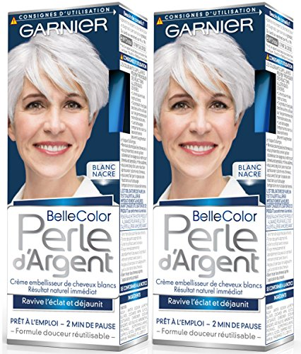 Garnier - Belle Color - Perle d'Argent - Crème déjaunisseur éclat cheveux blancs Blanc - Blanc Nacre Lot de 2