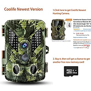 Coolife Wildlife Camera, Hunting Game Camera Trail Surveillance IP67 Waterproof 3 Zone Infrared Sensor 16MP 1080P HD With Time Lapse 82ft 125¡ã Wide Angle Night Vision for Wildlife with 32G SD Card