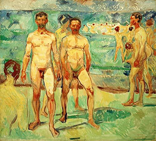 Kunstdruck/Poster: Edvard Munch Männer am Strand - hochwertiger Druck, Bild, Kunstposter, 45x40 cm