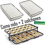 Cama Nido metálica con 2 somieres lama ancha reforzada + patas + 2 colchones Aloe Vera + 2 almohadas de Fibra de Regalo-90x190cm