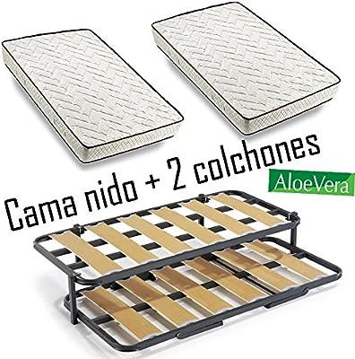 Cama Nido metálica con 2 somieres lama ancha reforzada + patas + 2 colchones Aloe Vera + 2 almohadas de Fibra de Regalo-80x190cm