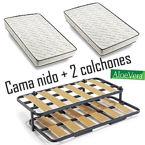 Cama-Nido-metlica-con-2-somieres-lama-ancha-reforzada-patas-2-colchones-Aloe-Vera-2-almohadas-de-Fibra-de-Regalo-80x180cm