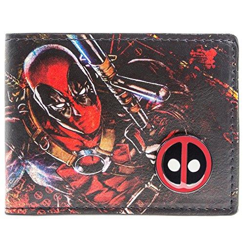 (Marvel Deadpool Gedruckte Zeichen mit Abzeichen Mehrfarbig Portemonnaie Geldbörse)