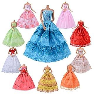 Asiv 10er Pack Kleidung & Kleider Für Barbie Puppen Dolls, Fashion Urlaubstag Hochzeit Party Abendkleid Kleider - Weihnachten Geschenk