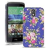 HTC Desire 526 526G Handy Tasche, FoneExpert® Ultra dünn TPU Gel Hülle Silikon Case Cover Hüllen Schutzhülle für HTC Desire 526 526G + Displayschutzfolie (Flower)
