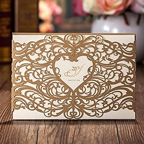50 Pieces Wishmade Gold Heart Laser Cut Wedding Invitations Cards Kits Elegant Floral Paper Invites Pocketfold for Marriage Cardstock Engagement Birthday Bridal Shower with Envelopes and Seals Party Favors
