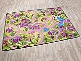 Kinderteppich SWEET CITY - 95cm x 200cm, Schadstoffgeprüft, Anti-Schmutz-Schicht, Auto-Spielteppich für Mädchen, Fußbodenheizung geeignet
