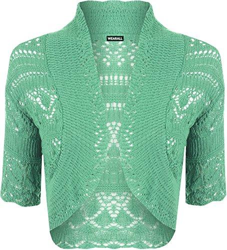 WearAll - Manche Courte Crochet Tricoté Boléro Top - Hauts - Femmes - Tailles 36 à 42 Vert Menthe