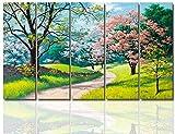 Wand Bild Auf Leinwand, Öl Gemälde Bilder Mit Rahmen leinwandbilder leinwanddrucke Landschaft Natur Wandbild Wandbilder Küche Schlafzimmer Wohnzimmer Modern XXL 5 Teilig