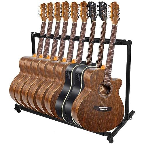 Chitarra Rack, Espositore per chitarra stabile Supporto per chitarra pieghevole per 9 accessori per strumenti musicali per chitarra di tutte le dimensioni