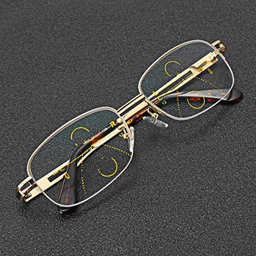 EgBert Intelligente Multi Focus Lesebrille Progressive Half Frame Presbyopie Brille - 2.5