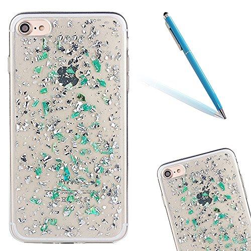 """iPhone 7 Hülle, Kristal Glitzer CLTPY iPhone 7 Ultradünne Glänzend Plating TPU Handytasche mit Sparkly Bling Diamant, Weich Stoßdämpfend Silikon Schale Fall für 4.7"""" Apple iPhone 7 + 1 x Stift - Weiß- Grün"""