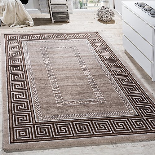 Paco Home Teppich Wohnzimmer Bordüre Ornament Muster Abstrakt Design Meliert Beige Creme, Grösse:120x170 cm