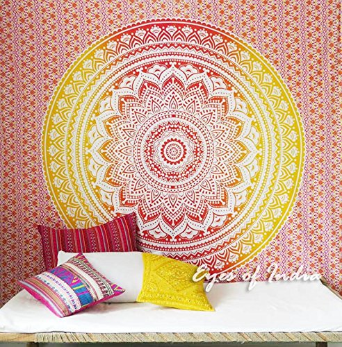 W G Siebdruck (Eyes of India - Queen Yellow Ombre Mandala Wall Hanging Tapestry Bedspread Beach Blanket Decor)