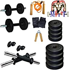 MFITT 20KG Home Gym Set 3KG x 4 + 2KG x 4 + 2 Dumbbell Rod of 14 INCHES + Gym Gloves Pair + Skipping Rope + Hand Gripper
