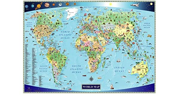 Illustrated Map of the World for Kids Children\'s World Map: Amazon ...