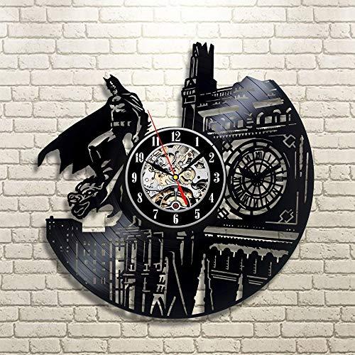 Für größere Ansicht Maus über das Bild ziehen Vinyl Evolution Batman Dark Knight Wanduhr, Schwarz (Die Evolution Von Batman)