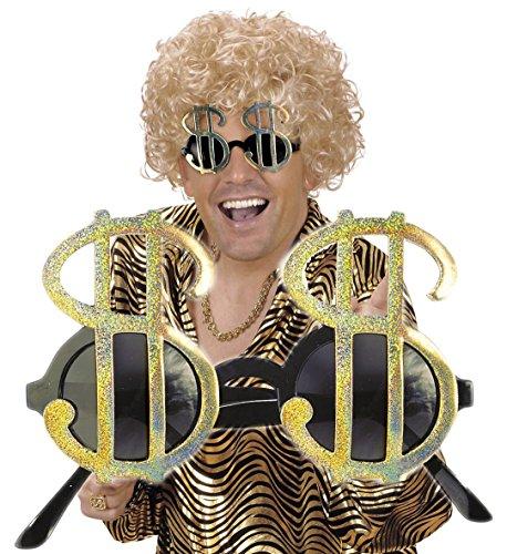 Sonnenbrille * AMERICAN DOLLAR * in GOLD als Verkleidung für Amerika-Party, Karneval oder USA Mottoparty // mit goldenen $ Zeichen // Brille Geburtstag US