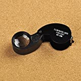 Anself 40X 25mm Glass Magnifying Magnifier Folding Jewelry Compact Pocket Loupe Led Light