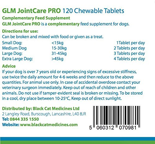 GLM Joint Care PRO for Dogs - 120 Chewable Tablets (Glucosamine and Green Lipped Mussel) 3
