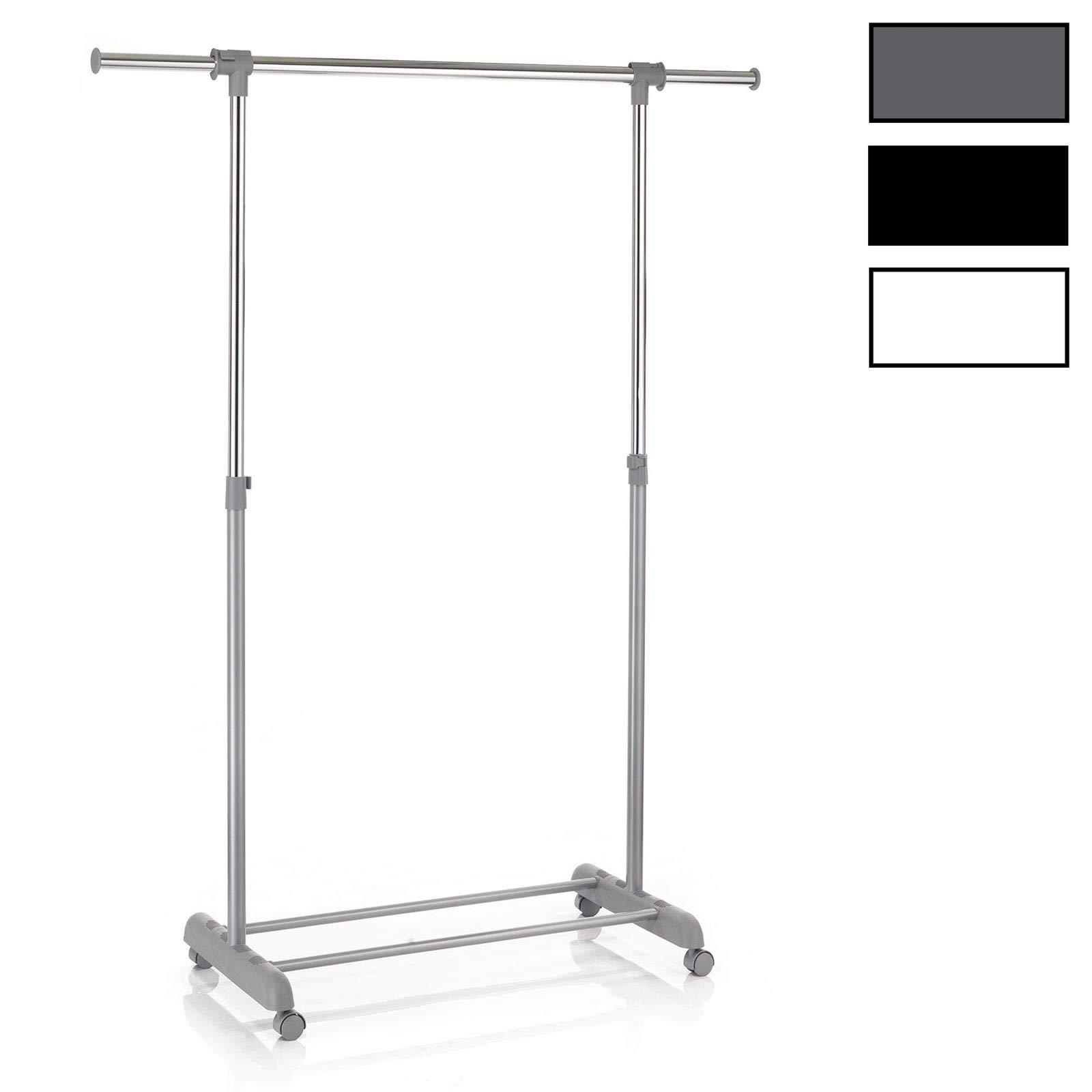 CARO-Möbel Rollgarderobe SALA Garderobenwagen Kleiderständer Garderobenständer Kleiderwagen grau höhenverstellbar und ausziehbar 1