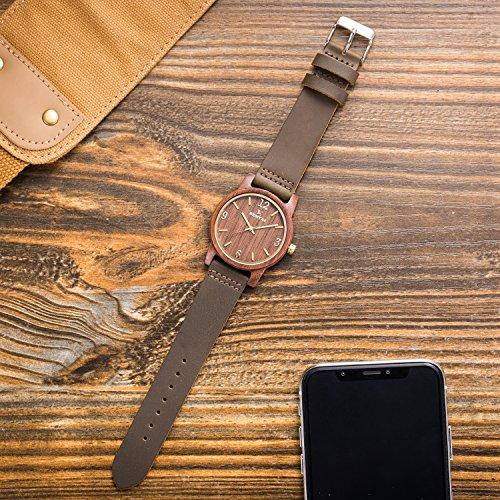 Natürliche hölzerne Uhr Sentai Holzuhr für Mann und Frau Lederarmband stilvolle und schöne handgemachte leichte Quarzuhren Unisex Armbanduhr Braun - 5