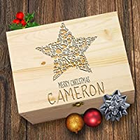 TWISTED ENVY Personalised Xmas Star Laser Etched Christmas Eve Wooden Gift Box