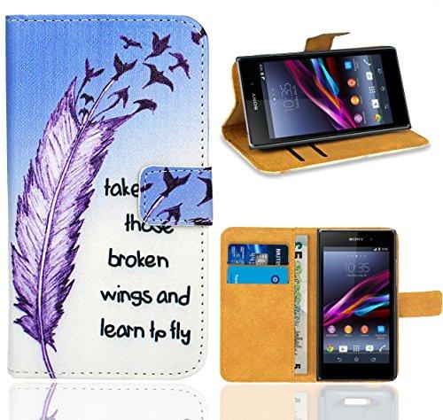 Preisvergleich Produktbild Sony Xperia Z1 Compact Handy Tasche, FoneExpert Wallet Case Flip Cover Hüllen Etui Ledertasche Lederhülle Premium Schutzhülle für Sony Xperia Z1 Compact