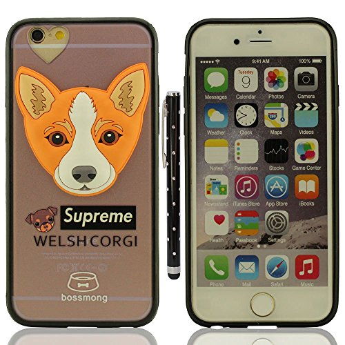 """Custodia Case per iPhone 6S / 6 4.7"""", Piccolo Cane Aspetto Serie Vari Dog Trasparente Chiaro Cover Molto magro + 1 Penna stilografica - POODLE A6"""