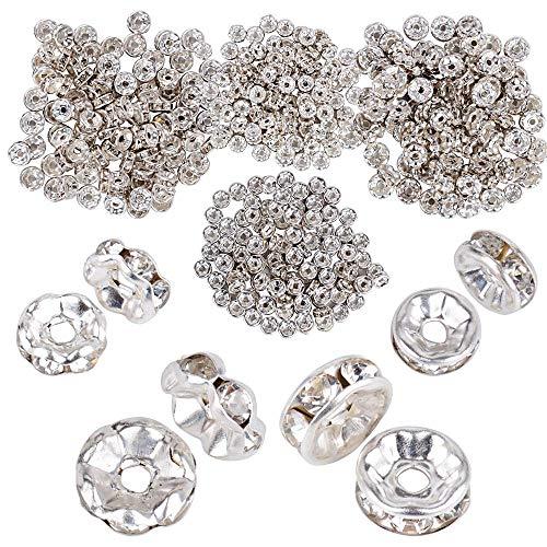 JNCH (Dia. 6mm + 8mm) 400pz Perline Vetro Strass Rotonde Perle Distanziatori Argento Metallo Accessori per Creazione Gioielli Fai da Te Orecchini Collana Bracciali Monili Ciondoli